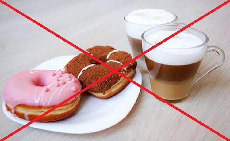 Сладости, а также кофе и чай тоже запрещены.