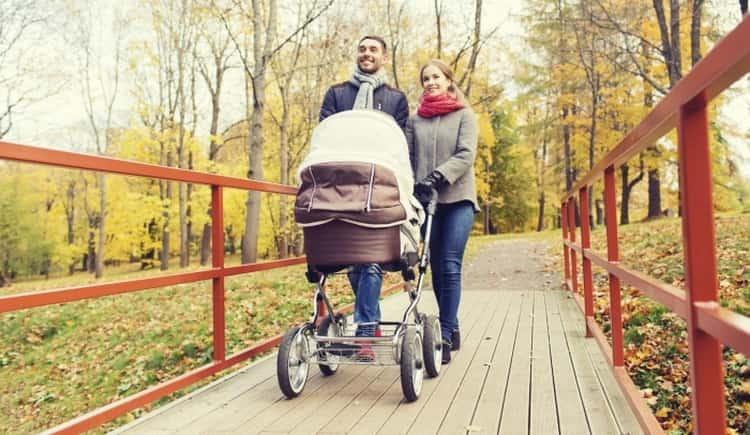 режим дня ребенка в 2 месяца обязательно должен включать в себя прогулки.