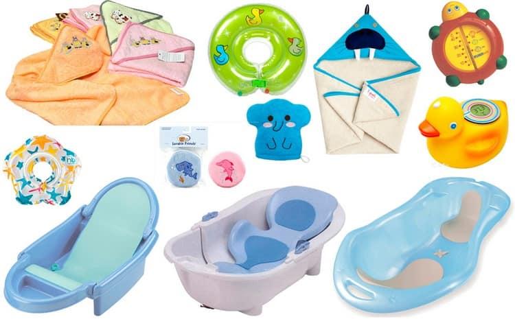 Для купания понадобится сама ванночка, полотенце, тонкая пеленка, градусник для воды, мягкая детская мочалка.