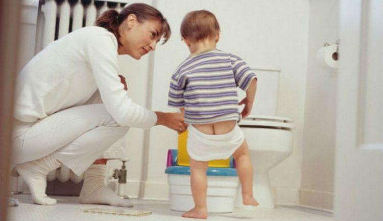 очень хорошо, если малыш пытается самостоятельно сесть на горшок или унитаз.